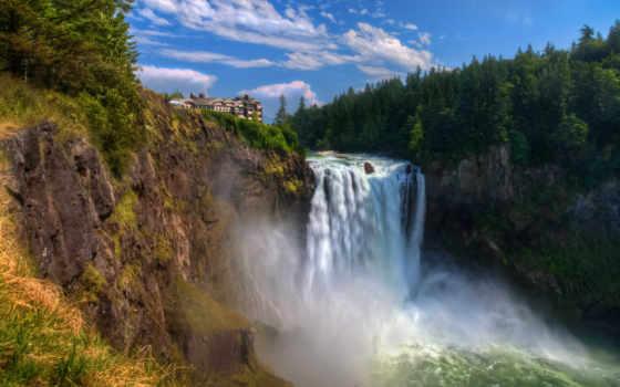 водопад, обрыв, широкоформатные
