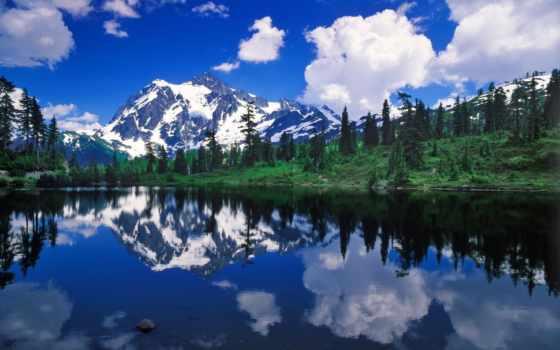 красивые, mount, великолепная, тридцатка, мира, washington, природа, пейзажи -, озера, горы, baker,