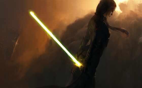jedi, lightsaber, yellow, star, war, женский, зелёный, rey, late, movie, девушка