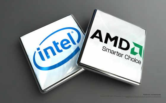 объёмные логотипы АМД и интел