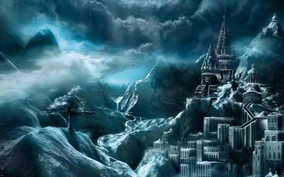 castle, горах, fantasy, магия, among, замки, водопадом, ночью, страница,