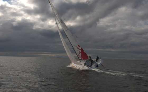небо, яхта, море