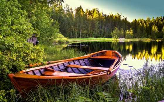 лодка, озеро, берегу,