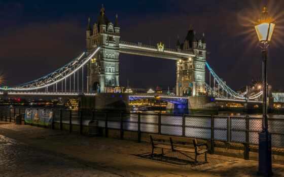 мост, ночь, london, великобритания, башня, река, тауэрский, architecture, огонь, фонарик