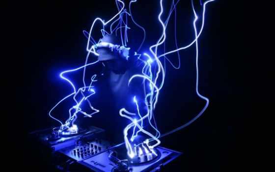dj, speakers, blue, console, lighting, dark