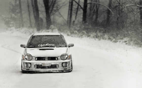 subaru, impreza, тюнинг, зима, снегопад,