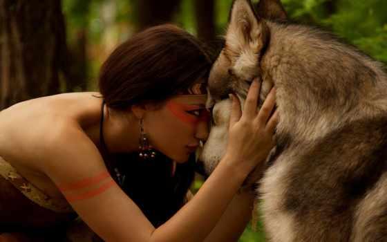 волк, дружба, девушка, природа, amazon, волком, лес, взгляд,