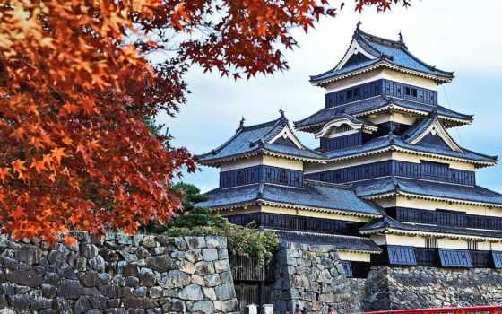 castle, япония, matsumoto, trees, nagano, guide,