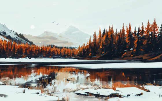 лес, природа, winter, озеро, aenamus, красивый, alenon, starve, величко, alenyi, гора