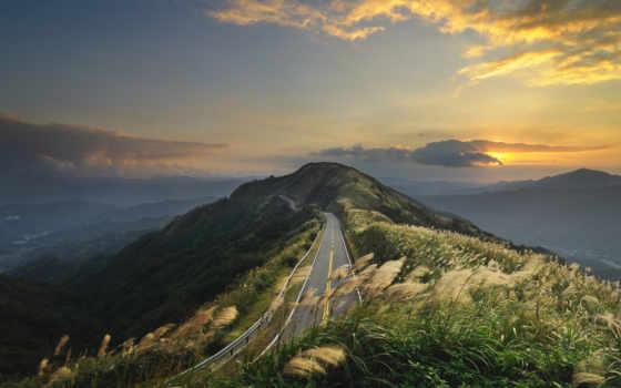 дорога, трава, дороги, холмы, пейзажи, вид, китай, небо, горы, места, картинка, картинку, кнопкой, свет, туман,