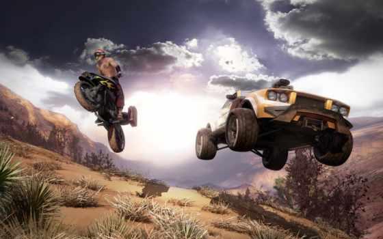 гонки, мотоцикл, машина