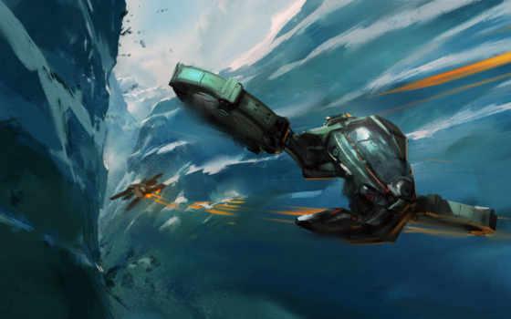 будущего, фэнтези, летательный, аппарат, космические,