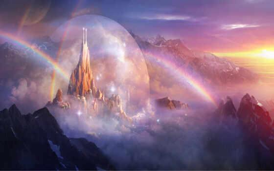 fantasy, art, regenbögen, schlösser, landschaften, ago,