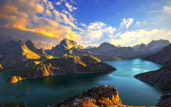 горы, озеро, море, фьорды, oblaka, закат, норвегия,