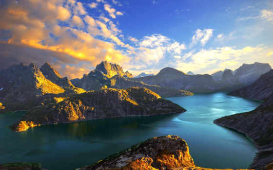 горы, озеро, море