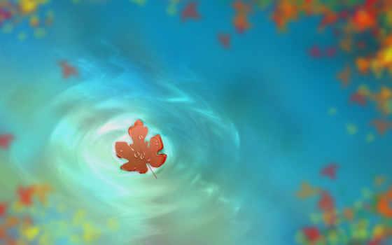 осень, water, лист, капли, рисунок, art, sony, красивые, телефон,