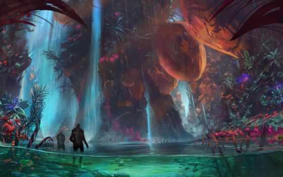 водопад, магия, пруд, desktop, spectacular, fantasy,