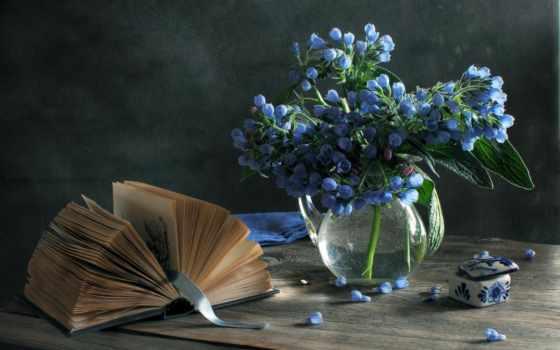 книга, ваза, книги, cvety, натюрморт, голубые, tape,