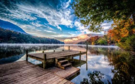 природа, туман, осень, лес, trees, река, дымка, озеро, причал, мост, горы,