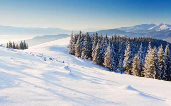 winter, горы, снег, природа, широкоэкранные, лес, trees,