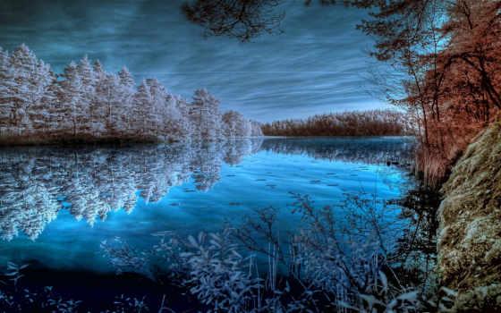 иней, лес, озеро, trees, white, осень, blue, online, puzzle, отражение,