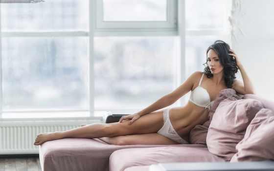 девушка, белое белье, секси, окно, предмет нижнего белья