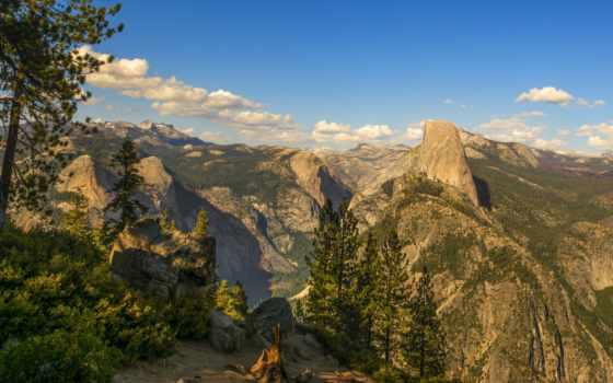 national, park, yosemite, пейзажи -, сша, half, камни, скалы, кусты,