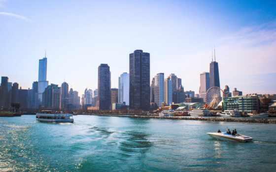 pier, вмф, chicago, michigan, озеро, следования, waterfront