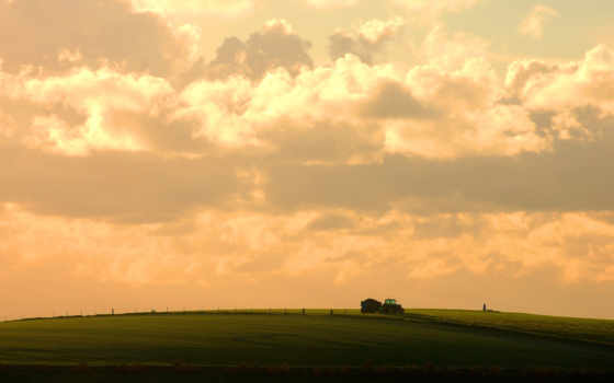 трактор, небо, поле, облака, wallpaper, природа, sky, nature, wallpapers, урожая, поля, прекрасный, розовое, день, сельскохозяйственные, сбор,