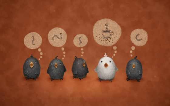 white, crow, птицы, червячки, червяки, кружка, vladstudio,