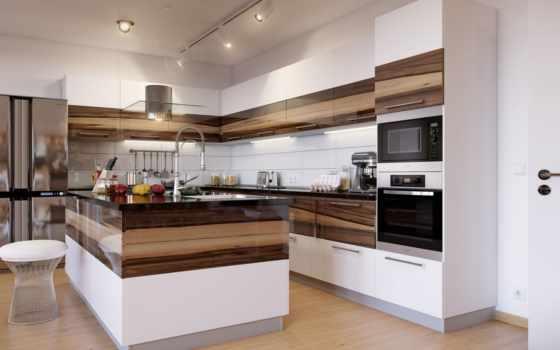 кухни, кухня, островом