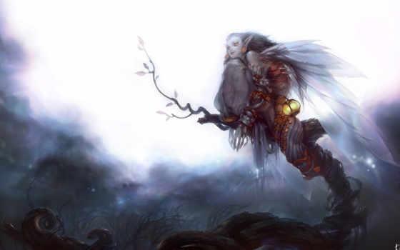 art, крылья, девушка
