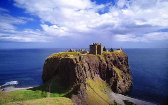 замок, шотландия, даннотар, шотландии,