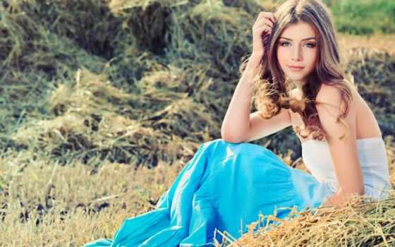 девушка, платье, поле, сено, трава,
