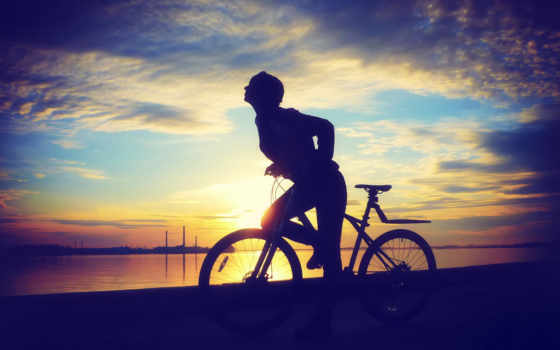 девушка, велосипеде, devushki, bike, девушек, силуэт, закат,
