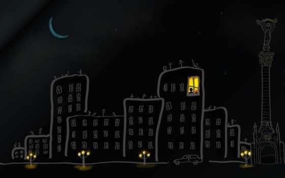 город, окно, свет, статуя, ukraine, рисунок, луна, киев,
