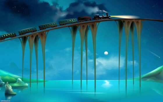 коллекция, лучшая, поезд, уже, загружено, мосту, со, рекой, поезда,