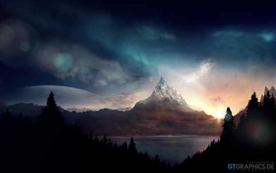 закат, горы, луна