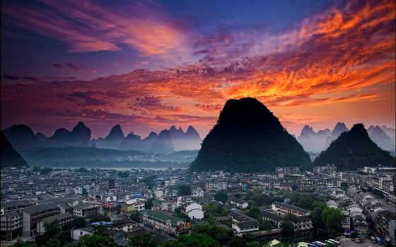 yangshuo, яншо, китаянка, вечер, hill, уезд, xilang, фотографий, небо, севере, расположен,