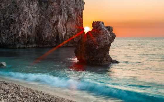 greek, море, water, природа, город, высоком, rock, салоники, дома,