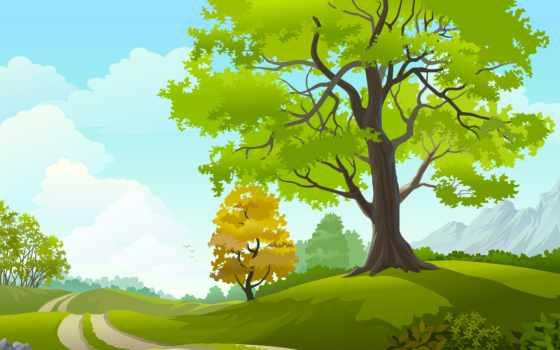 трава, поле, clouds, trees, небо, вектор, art, природа, дорога, landscape, birds,