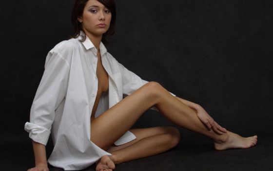 белой, рубашка, девушка, ножки,