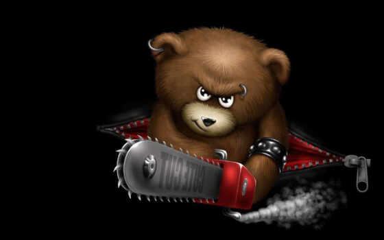 bears, black, sergei, dark, teddy, bear, юмор, chainsaw, login, que, leg,