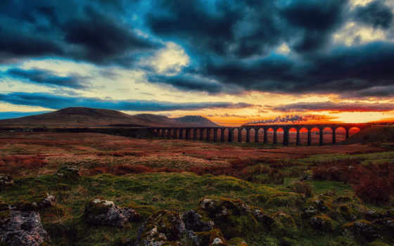 закат, небо, мост