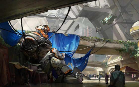 art, робот, город