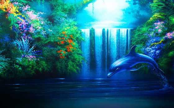 водопад, дельфин, рисованные, художественная, работать, заставки, фотообои,