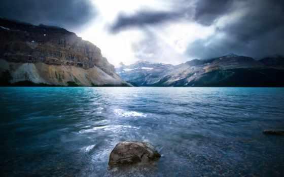 water, река, камень, landscape, небо, горы, emma, свет, серый,