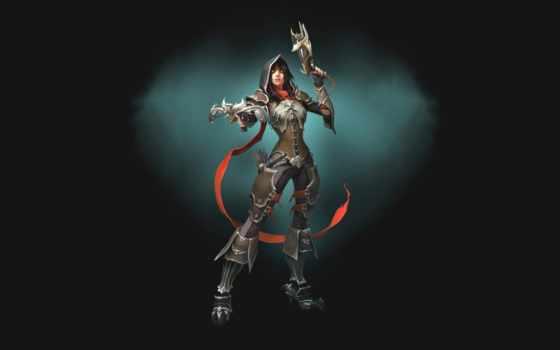 armour, девушка, fantasy, simple, diablo, арбалеты, демон, hunter, войны, воители, капюшон,