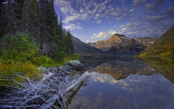 tivi, озеро, ecran, montana, fonds, sánh,