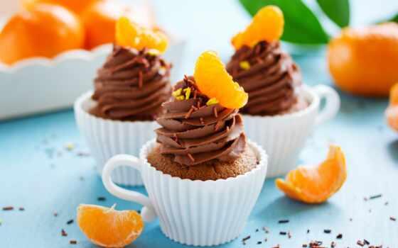 капкейки, кексы, мандариновые, сладкое, шоколадно, мороженое, торты, еда, десерт, chocolate, торт,
